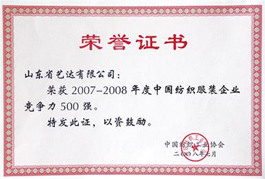 中国纺织服装企业竞争力500强